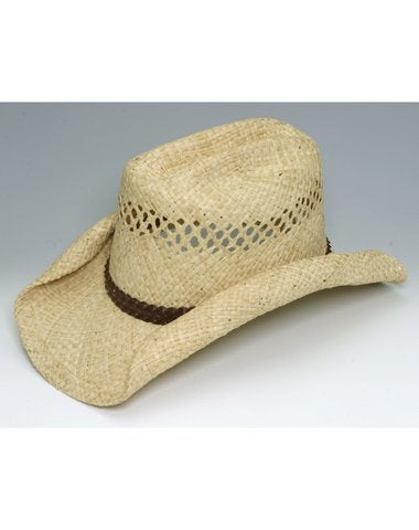 Jacobson Hat Company Child's Raffia Straw Rolled Brim Cowboy Hat, Natural