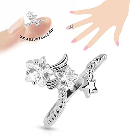 Star Multi-Paved Gems Adjustable Rhodium Plated Brass Nail RIng