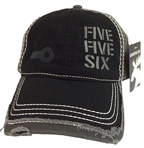 Five Five Six Ar-15 Hat / cap Black / Grey Distressed 5.56 2.23