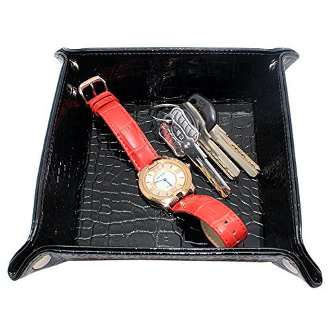 Boshiho Valet Tray for Men, PU Leather Jewelry Catchall Key Phone Coin Box Change Caddy Bedside Storage Box (Black)