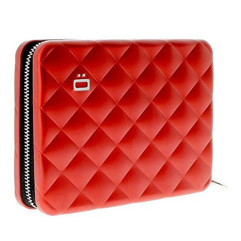 Ogon Quilted Passport Case Red Aluminum Wallet