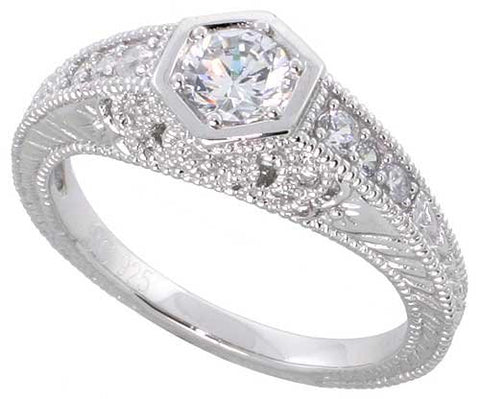 Sterling Silver Vintage Style Engagement Ring, w/ a 4mm (.25 ct) Round CZ Stone, 5/16  (8mm) wide, size 6