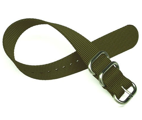 TIMEWHEEL Premium 22mm Zulu 2 Ring Military Green Nylon Watch Strap