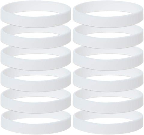 Gogo 12 Pcs Silicone Wristbands For Kids, Rubber Bracelets, Party Favors-White