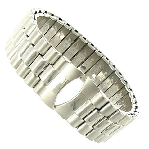 20mm Curved End Speidel Twist-O-Flex Silver Stainless Steel Watch Band X-Long