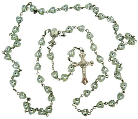 Catholic Girls First Holy Communion Gift 6MM Heart Shape Bead with Chalice Center 19 Inch Rosary Necklace