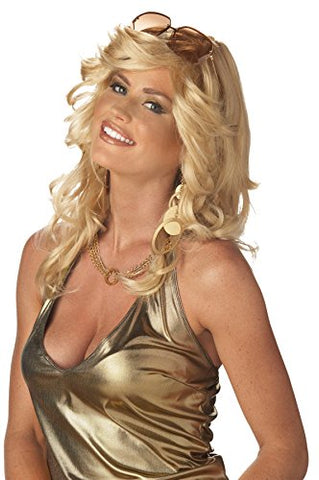 UHC Mama Discorama Farrah Fawcett Feathered Angels 70's Disco Costume Blonde Wig