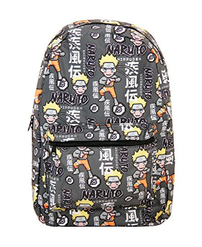 Naruto Shippuden All Over Kanji Print Charcoal Backpack