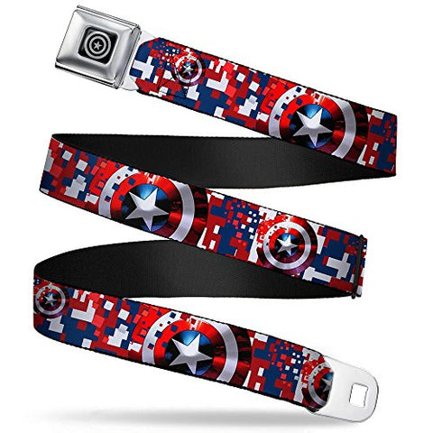 Captain America Shield Digital Camo Blue/white/red Seatbelt