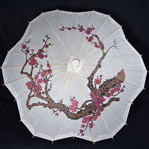 PaperLanternStore.com 32  Cherry Blossom / Sakura Paper Parasol Umbrella, Scallop Shaped