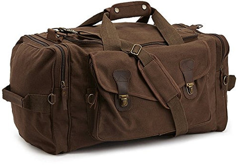 Brown Long Weekend Travel Duffle Carry Bag - Canvas & Leather