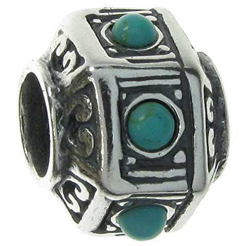 .925 Sterling Silver Hexagon Bead Simulated Turquoise Stone For European Charm Bracelets