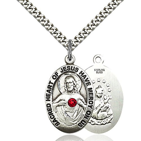 Sterling Silver Scapular Pendant with 3mm July Red Swarovski Crystal 1 x 5/8 inches with Heavy Curb Chain