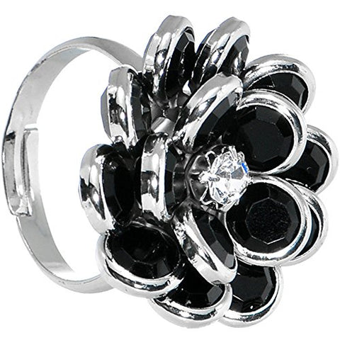 Black Enamel Blooming Flower Adjustable Ring