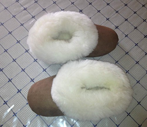 Handmade Alpaca Brown Slippers Fawn Fur sz Mens 9
