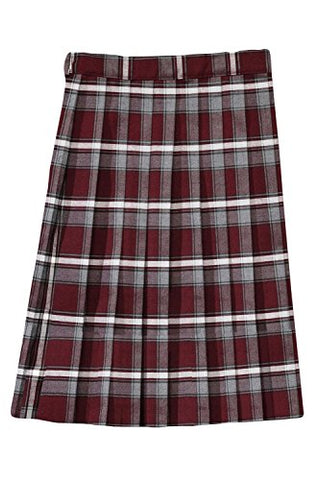 French Toast Below The Knee Plaid Pleated Skirtt(Junior Sizes) Burgundy Plaid 9 Jr