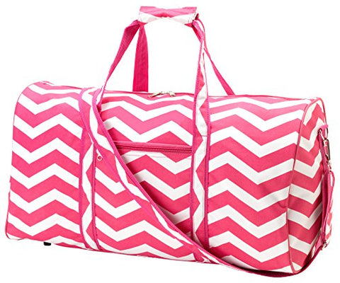 21 in Print Duffle, Overnight, Carry On Bag with Outside Pocket and Shoulder Strap (Blank, Pink Chevron - ZZ Pink)