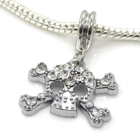 Jewelry Monster Silver Finish  Dangling White Rhinestone Skull & Crossbones  Charm Bead for Snake Chain Charm Bracelet