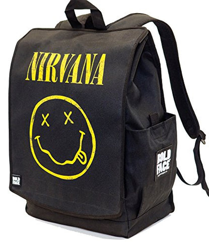 Official Nirvana Yellow Smiley Face Backpack. Printed panel is interchangeable