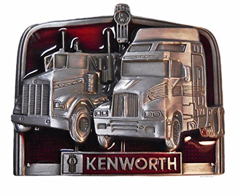 Kenworth Trucks Pewter Finish Logo Metal Enamel Belt Buckle