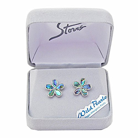 Storrs Wild Pearle Handmade Abalone Pearl Silver Plated Post Earrings Forget-Me-Not