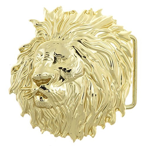 Lion Head Gold-Plated Belt Buckle