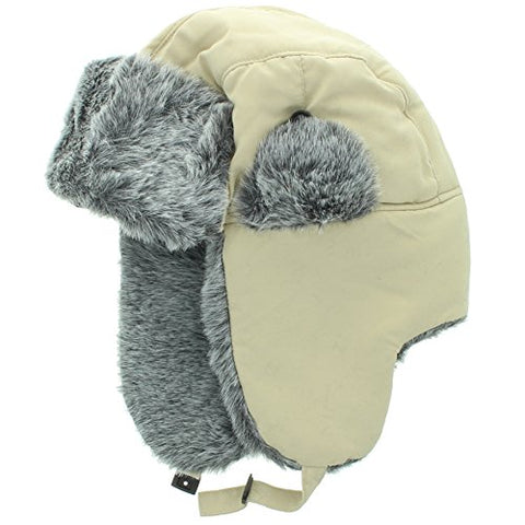 City Hunter Soft Nylon Russian/Trapper/Trooper Winter Hat (One Size)-Khaki