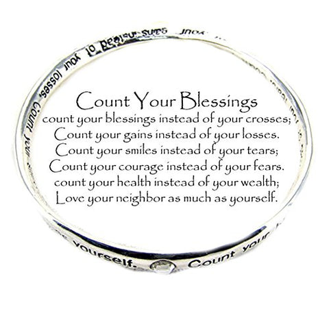 Beautiful Silvertone Count Your Blessings Message Bangle Bracelet (with Gift Box)