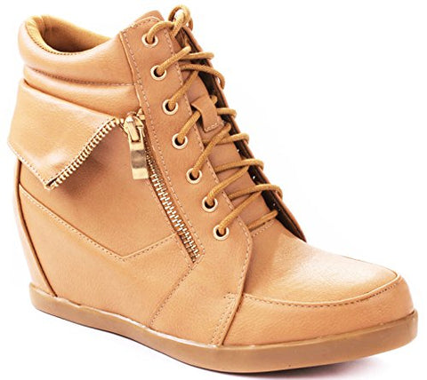 Lucky Top Girls Peter30k Kids Fashion Leatherette Lace-Up High Top Wedge Sneaker Bootie,Tan,12