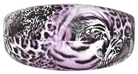 Hard Leopard print Sunglass case - White/Turquoise