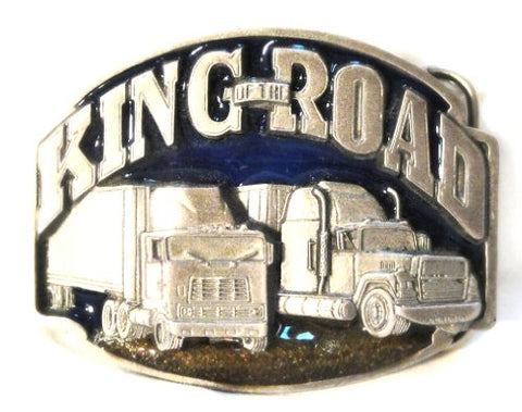 KING OF THE ROAD  KEEP ON TRUCKING  PEWTER BELT BUCKLE; MADE IN USA BY SISKIYOU