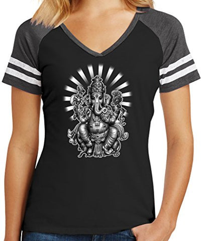 Ladies GANESHA Game V-neck Tee, Large Black/Heathered Charcoal
