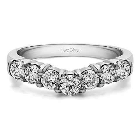 Cubic Zirconia Contour Anniversary Ring In Sterling Silver(0.25Ct)Size 3 To 15 in 1/4 Size Interval