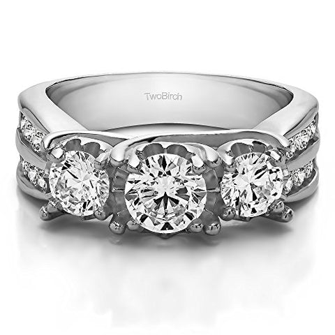 2.01Ct Three Stone Shared Prong Wedding Anniversary band in Sterling Silver Cubic Zirconia(Size 3 to 15 in 1/4 Size Intervals)