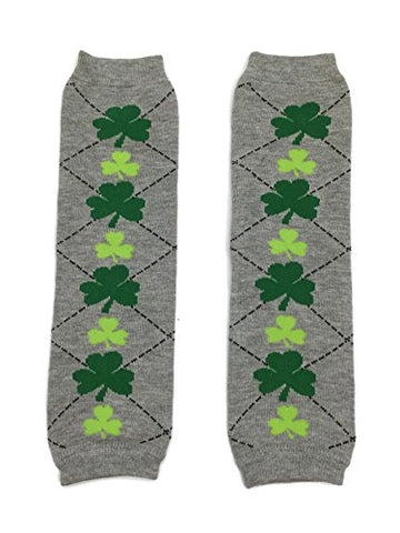 KWC - Gray Argyle & Green Shamrock Baby Leg Warmer (St Patrick's Day)