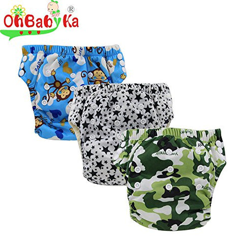 Ohbabyka Baby Training Pants,baby diapers waterproof Pants for 1-3Years old 3PCS Pack (All)