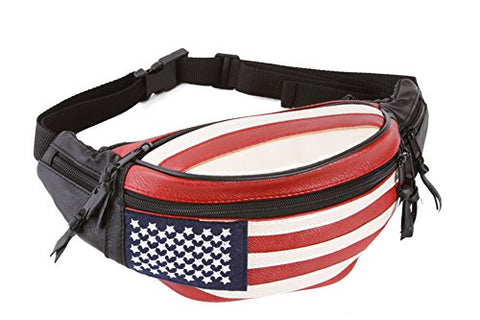 Gravity Travels Lambskin Leather United States Hip Waist Fanny Pack
