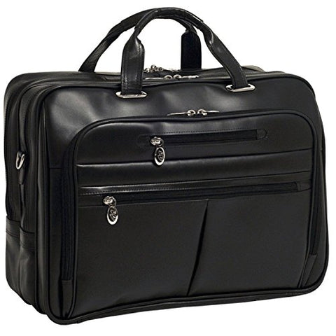 McKlein USA ROCKFORD R Series Leather Fly-Through 17  Briefcase in Black