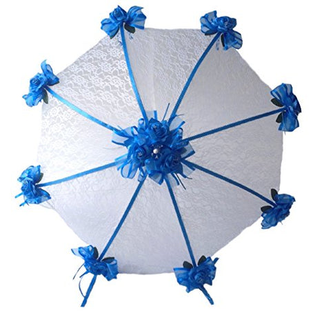 Decorated Bridal Shower Wedding White Lace Umbrella Parasol 36  Royal Blue Roses