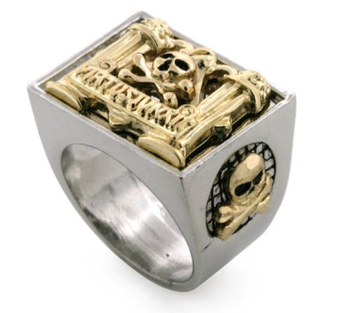 Silver/ Gold Tone Mason Masonic Virtus Iunxit Men's Ring Size 10 #5