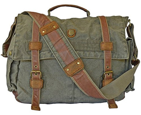 Vintage Army Green Laptop Canvas Leather Messenger Bag Military - Serbags Brand