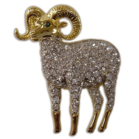 Women's Crystal Gold Wild Lamb Farm Animal Brooch Pin Made with Swarovski Elements