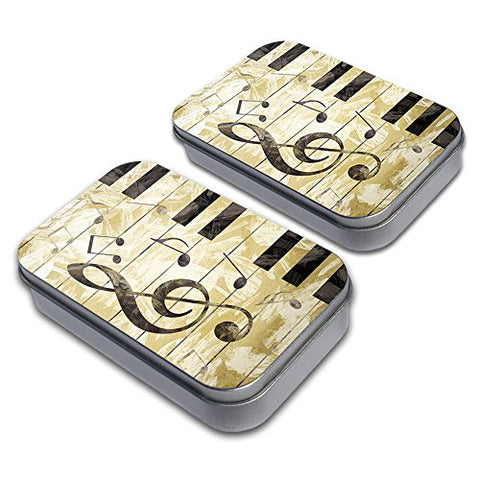 Vintage Piano with Treble Clef and Music Notes Decorative Craft Trinket Metal Tin Box Set of 2