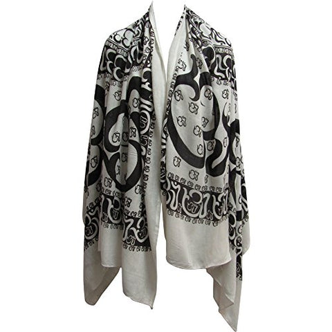 Om/Ohm Mantra Yoga Cotton Altar Cloth Prayer Shawl Scarf Large Black & White