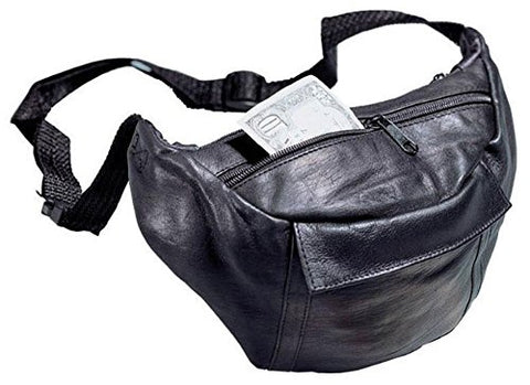 Top Grain Leather Fanny Pack Color: Black