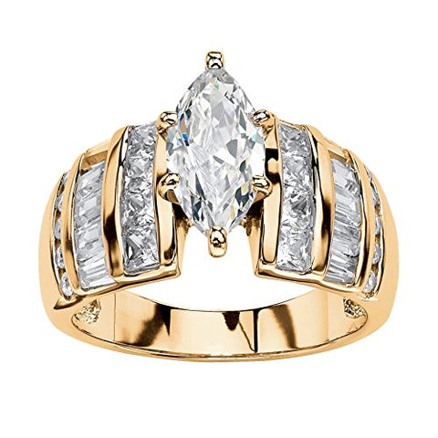 14K Yellow Gold over Sterling Silver Marquise Cut Cubic Zirconia Step Top Engagement Ring