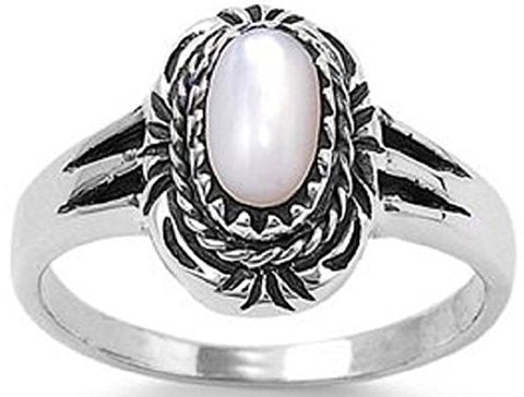 STERLING SILVER OVAL CUT MOTHER OF PEARL RING SIZES 5-10