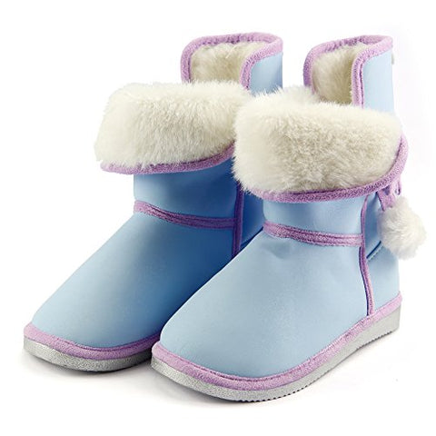 Toddler Sz 8 Girl's Super Cute Comfy Warm Furry Snow Boots w/ Ribbon Pompon Blue