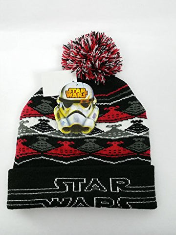 Star Wars Little Boys' Destroyer Intarsia Knit Pom Winter Hat, Black/Red, One Size
