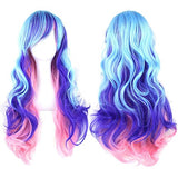 Straightened length 27.6  Wig mixed color Long Curly Wavy Hair Women and Girl Cosplay Party Costume Wig(Light cyan, purple, pink)